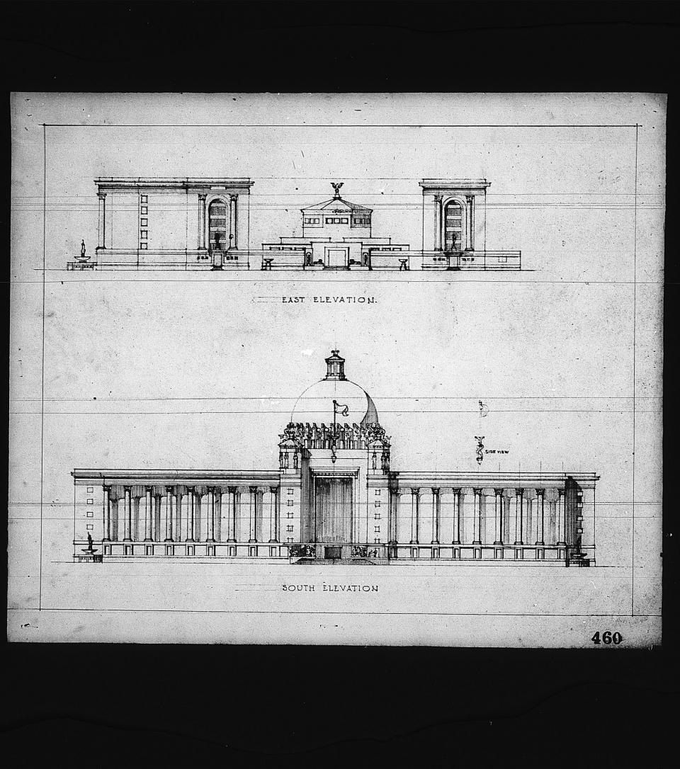2 architectural drawings on 1 sheet, Competition entry 460, City Hall and Square Competition, Toronto, 1958, by J. Narwekar of India. East elevation drawing showing Council Chamber and columns, and south elevation showing neoclassical dome and columns.