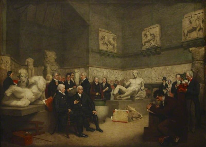 A portrait depicting the Elgin Marbles in a temporary Elgin Room at the British Museum surrounded by museum staff, a trustee and visitors, 1819