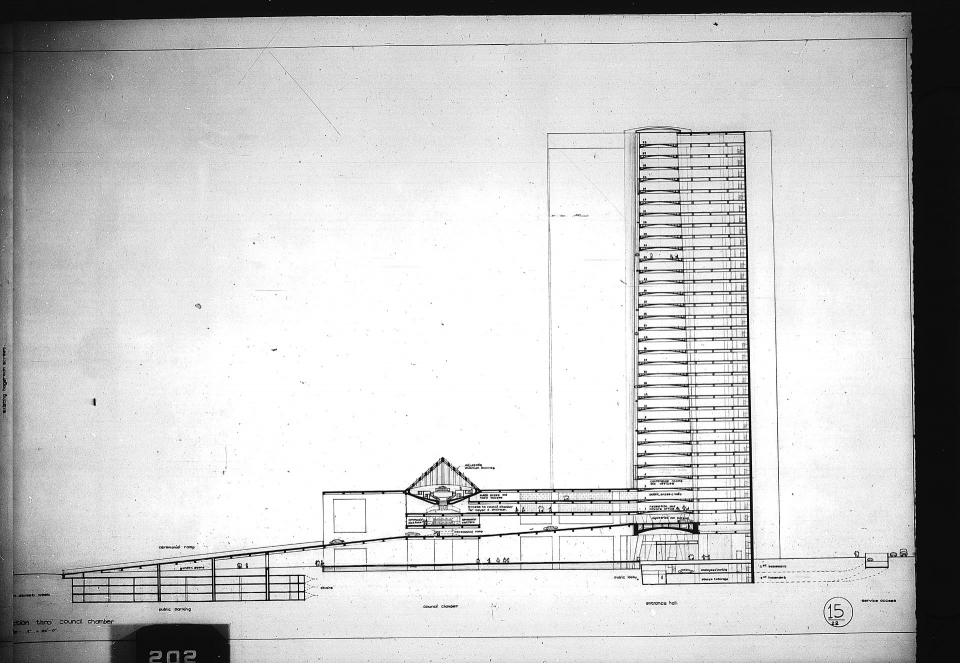 Architectural drawing, Competition entry 339, City Hall Square Competition, Toronto, 1958, by Balkrishna V. Doshi of India. Section through Council Chamber, government offices in office tower, ceremonial ramp and parking.