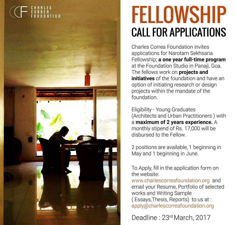 Fellowship: Young graduates or professionals with maximum 2 years of experience in architecture or urban planning.