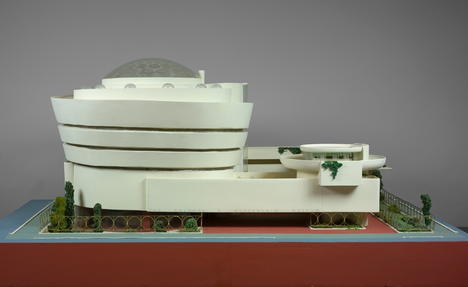 Model of the Solomon R Guggenheim Museum, New York, 1943–59, in painted wood, plastic, glass beads, ink, and watercolour on paper, by Frank Lloyd Wright.