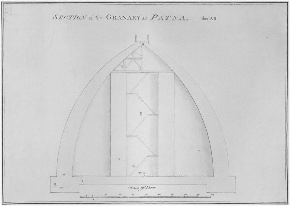 John Garstin (1756-1820). Golghar. 1786. Section Elevation. British Library, Map Collection, King's Topographical Collection CXV 48f