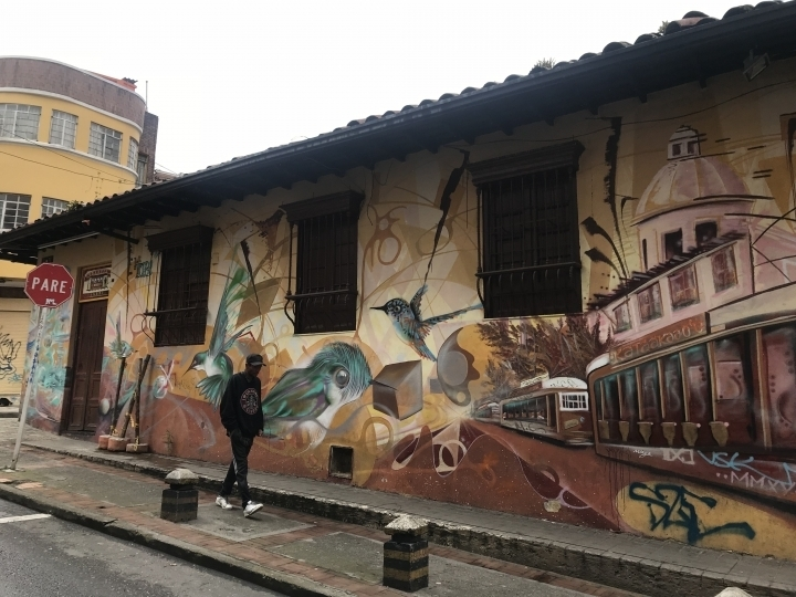 A street murals on a historical building in the Candelaria district of Bogotá, which will most likely be painted over by the city