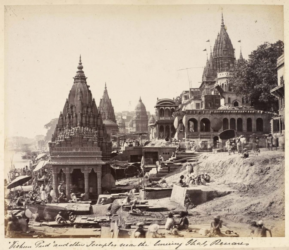 Figure 4. Samuel Bourne, Vishnu Pud and Other Temples near the Burning Ghat, Benares (c. 1865, albumen print, British Library, London).
