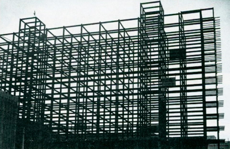 The steel frame during construction, this was the first steel frame sky-scraper building in India