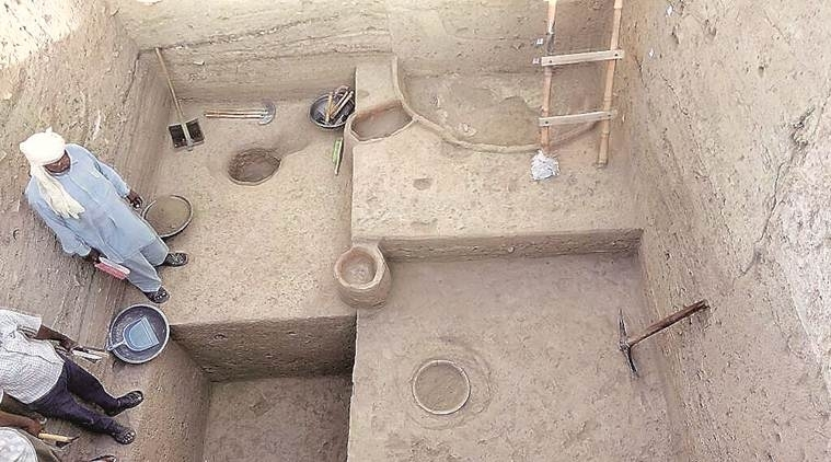 The excavation site in Kunal village of Fatehabad