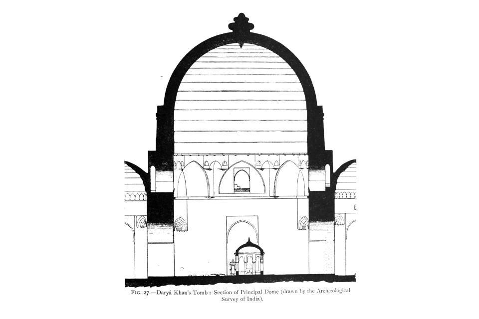 27. Daryâ Khan's Tomb: Section of Principal Dome (drawn by the Archaeological Survey of India).