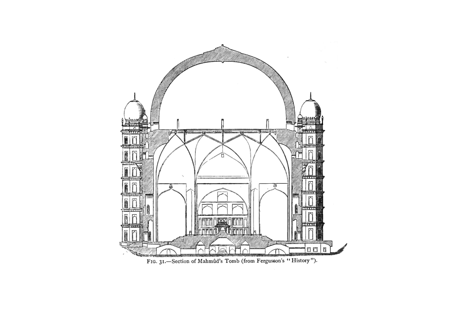 31. Section of Mahmûd's Tomb (from Fergusson's 'History').