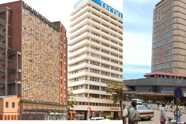Uganda Coffee Marketing Board complex, Uganda Peoples Congress Headquarters, Charm Towers, was originally named Uganda Commercial Bank Building. Its façade is now of aluminum cladding.