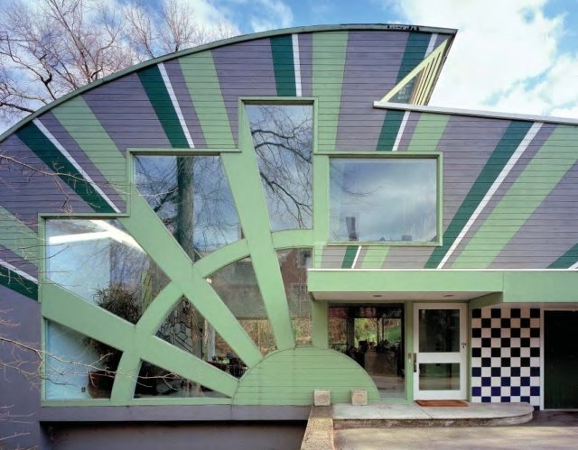 The front entrance to the Abrams House, designed by Venturi Scott Brown & Associates