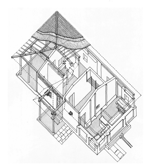 Axonometric drawing, Bapu Kutir, Sewagram Ashram, Wardha. Courtesy Madhu Malukani.