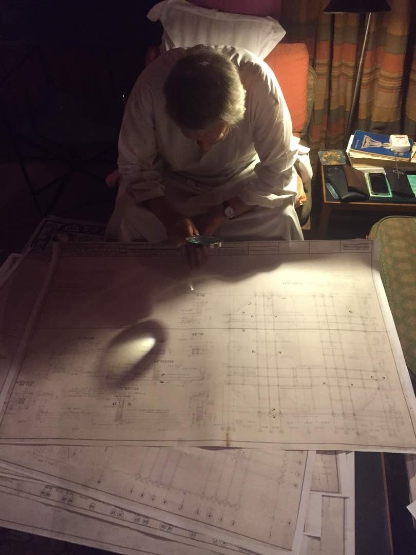 Mahendra Raj inspecting the foundation plans of the Hall of Nations on 18th April, 2017