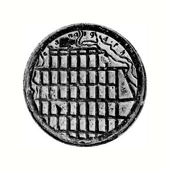 Manhole cover, with an ichnographic representation of the city