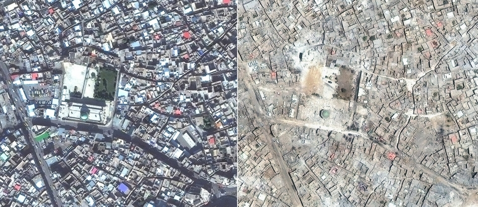 The Great Mosque of al-Nuri in Mosul, Iraq, seen in satellite photos taken on Nov. 13, 2015, left, and July 8, 2017, right.