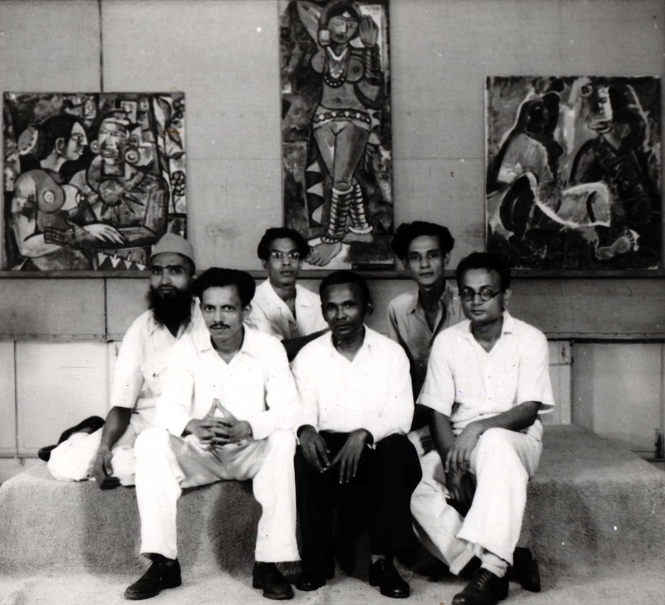 Photo from the Progressive Artists' Group exhibition, featuring (left to right) M.F. Husain, F.N. Souza, S.K. Bakre, K.H. Ara, S.H. Raza, H.A. Gade, 1949