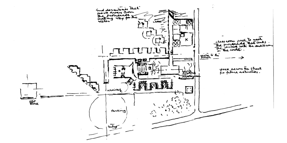 Development sketch showing the location of the Kitchen-Dining Complex, IIM,1975