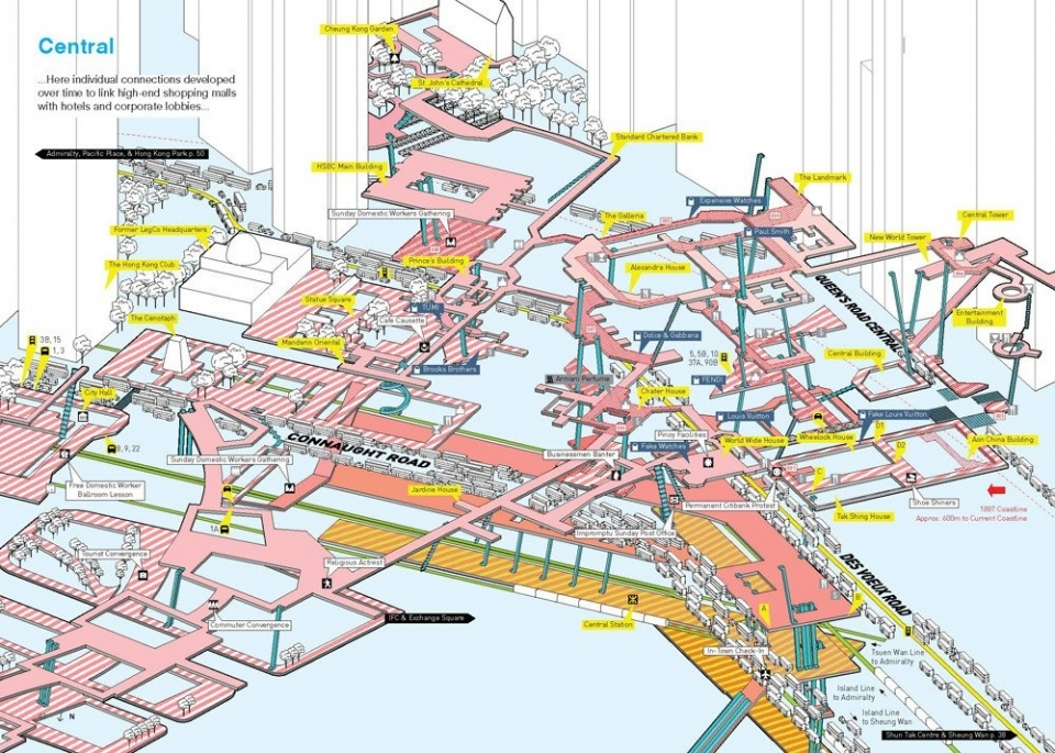 Axonometric diagram of elevated pedestrian circulation systems in Central Hong Kong, from Cities Without Ground: A Hong Kong Guidebook (2012),