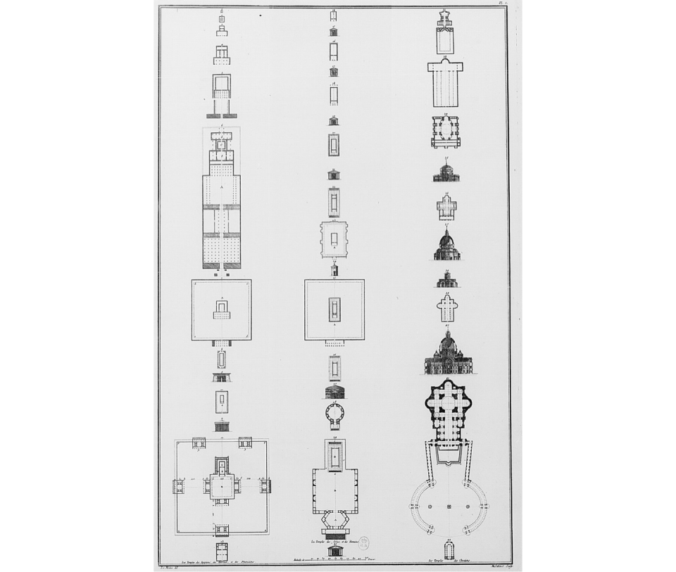 Julien-David Le Roy's comparative plate of the evolution of the temple form among the Egyptians, Hebrews, Phoenicians, Greeks, Romans, and Christians