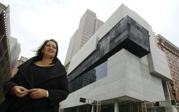 Architect Zaha Hadid stands outside the Lois & Richard Rosenthal Center for Contemporary Art building she designed in Cincinnati.