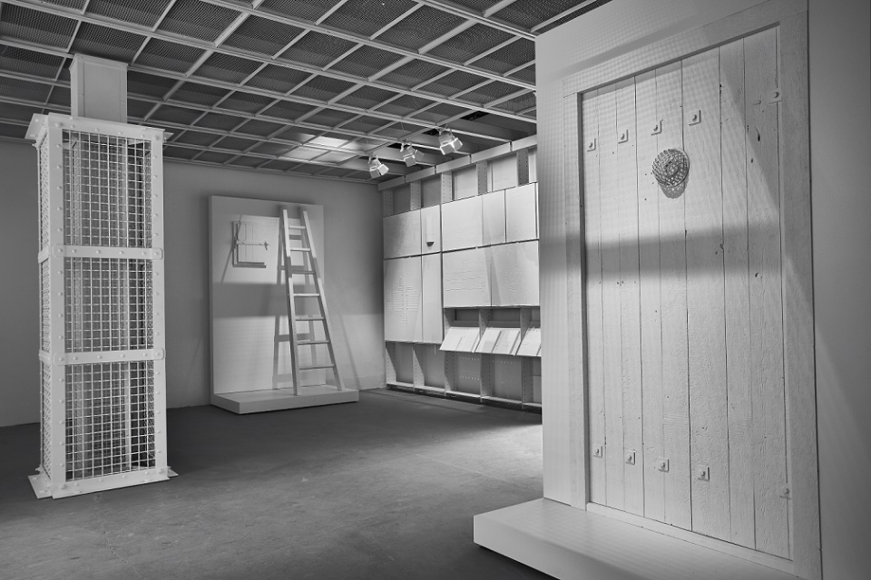 Interior perspective of The Evidence Room with models of Auschwitz gas column and gas-tight hatch, plaster casts and model of gas-tight door.