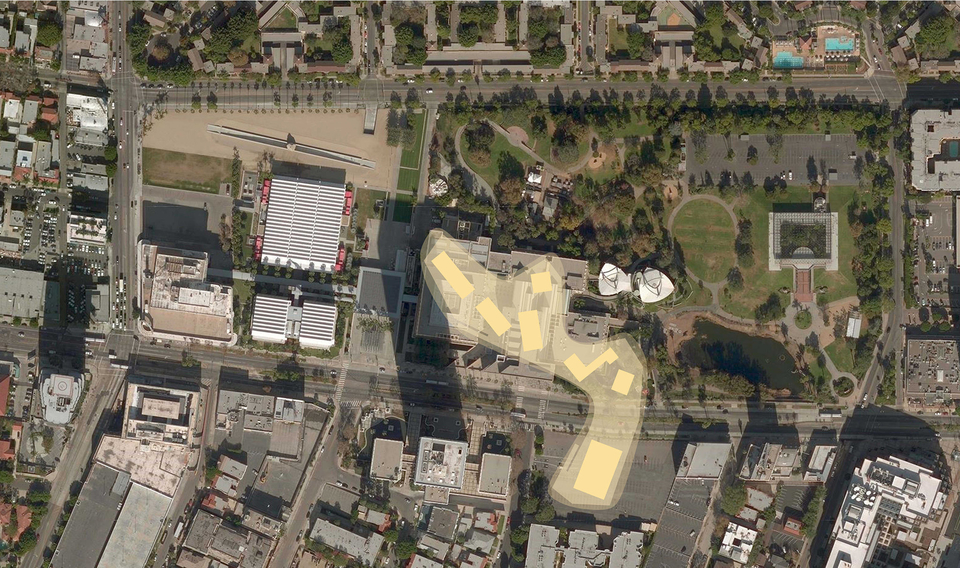An aerial rendering of the footprint of the museum complex, which spans Wilshire Boulevard.