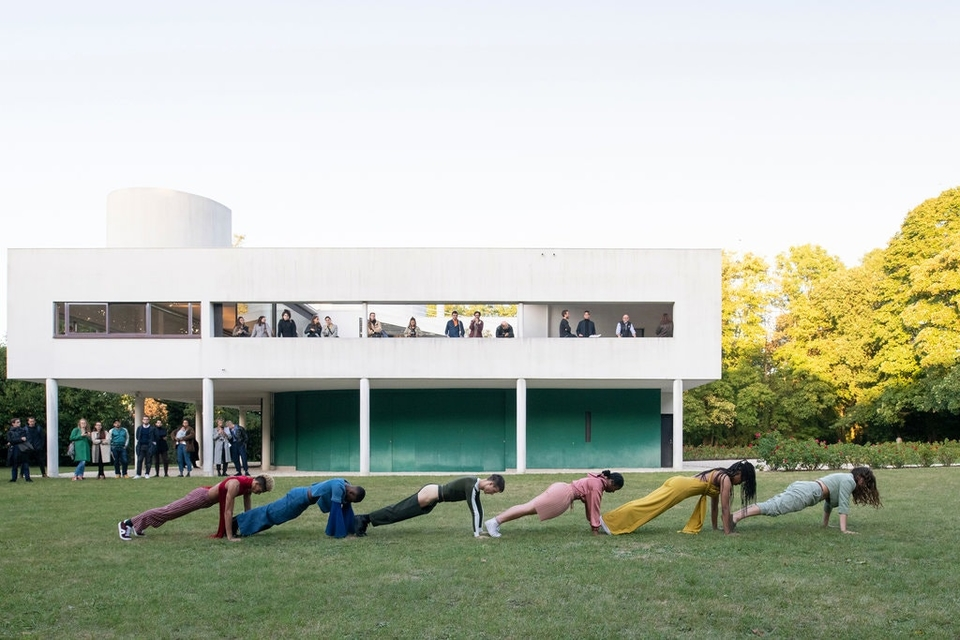 "A dance troupe performs in Gerard & Kelly's ""Modern Living"" at the Villa Savoye, on the outskirts of Paris. From left, Damontae Hack, Kehari Hutchinson, Matthieu Barbin, Emara Neymour-Jackson, Jasmine Sugar and Julia Eichten"