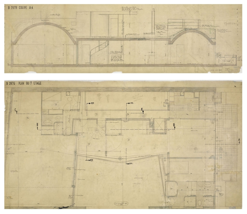 "(top) FLC 13413 ""Longitudinal section through Le Corbusier apartment with dimensions and captions, calculations, figure, annotations"", (bottom) Plans"