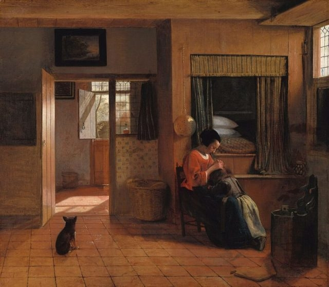 A Mother's Duty by Pieter de Hooch shows a woman delousing her child's hair in front of a raised box bed that can be climbed into from the chest below it.