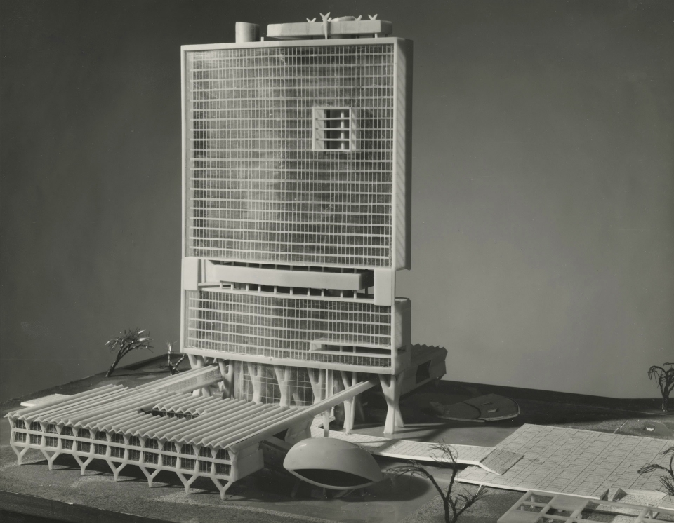 Architectural model, Competition entry 336, City Hall and Square Competition, Toronto, 1958, by Achyut Kanvinde of India.