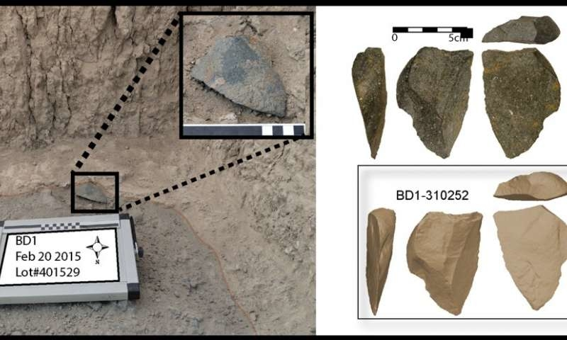 A large green artifact found in situ at the Bokol Dora site. Right: Image of the same artifact and a three dimensional model of the same artifact.