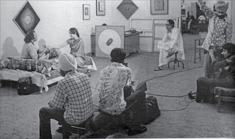 Artist Sohan Qadri being interviewed by Doordarshan during his first solo exhibition at the Dhoomimal Art Gallery in 1970.