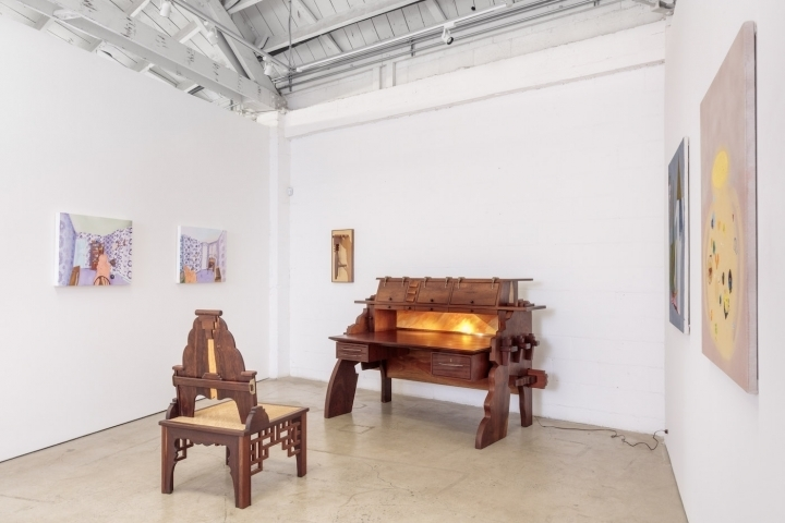 Installation view of at The Useful and the Decorative at the Landing, featuring furniture by Garry Knox Bennett