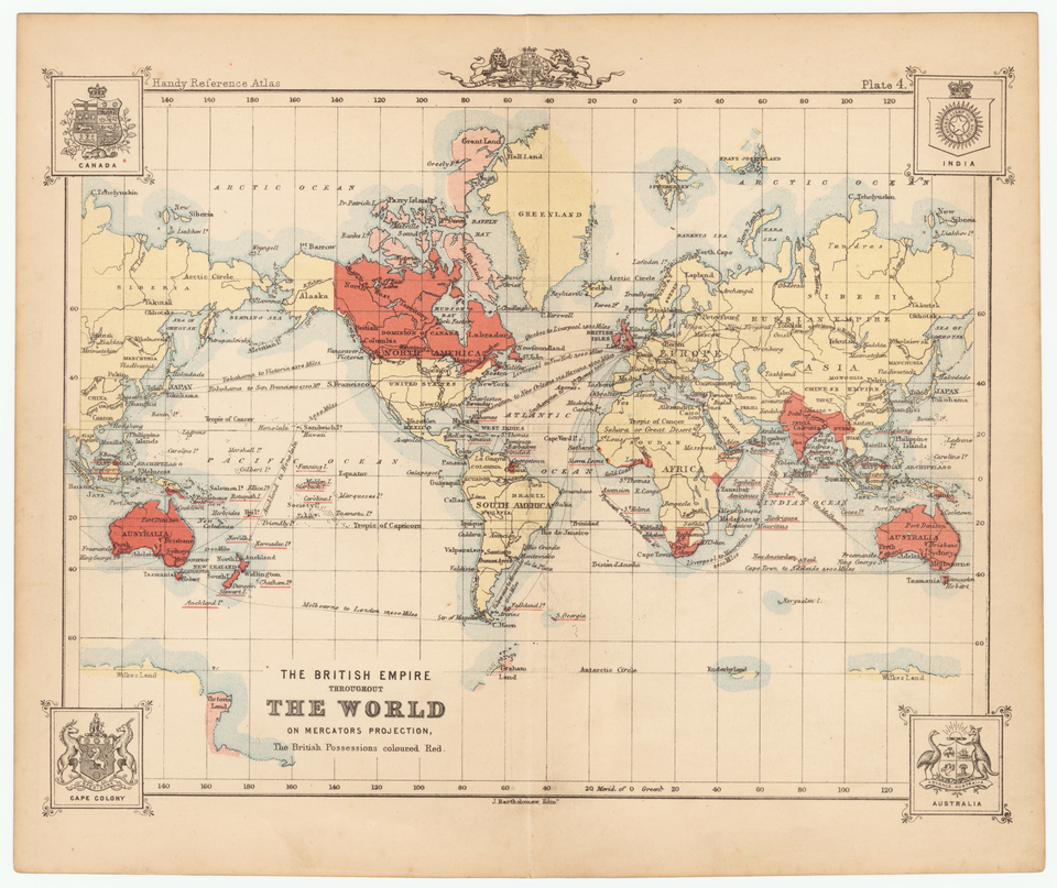 The British Empire Throughout the World on Mercators Projection, The British Possessions coloured Red.