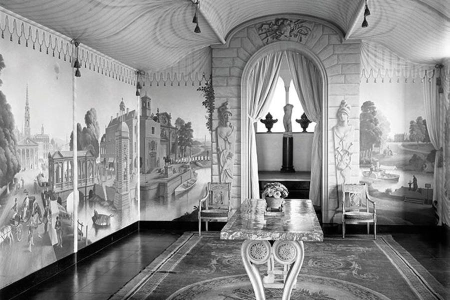 The view into the Painted Room at Port Lympne, Kent, with murals by Rex Whistler, photographed in 1933