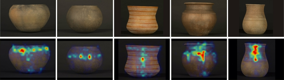 Main ceramics analyzed in the experiments and heatmap of the visual fixations in each one of them