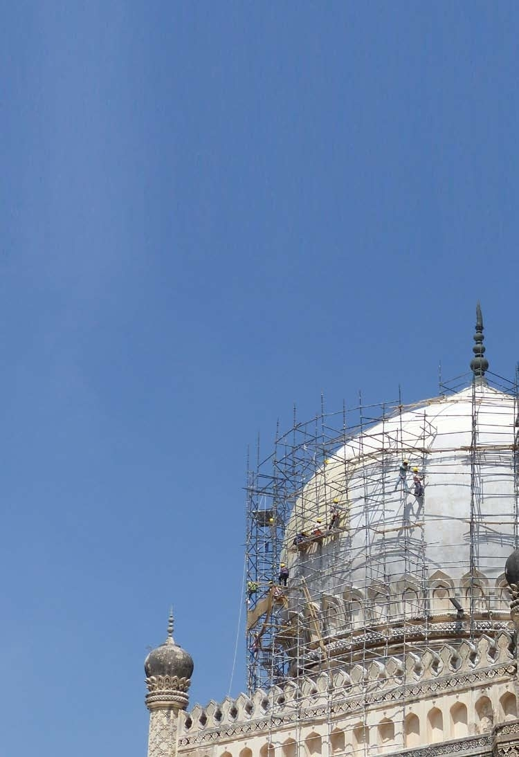 Conservation works undertaken at Muhammad Quli Qutb's Tomb in January 2015