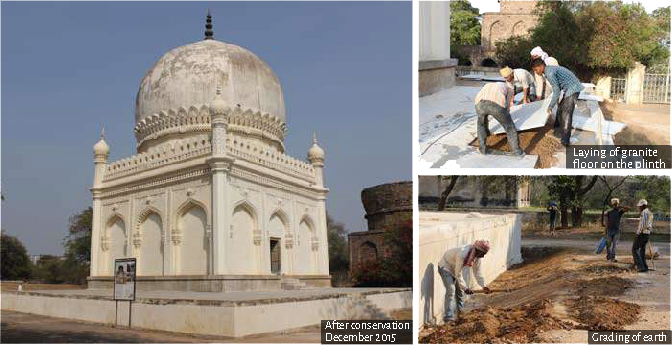 After conservation December 2015 (left), Laying of granite floor on the plinth (top right), Grading of earth (bottom right)