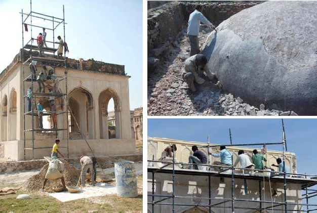 (Left) Tomb No. 15 - during conservation works; (Top Right) Dismantling of modern cement and plaster layers from the roof; (Bottom Right) Restoration of ornamental incised lime plaster details
