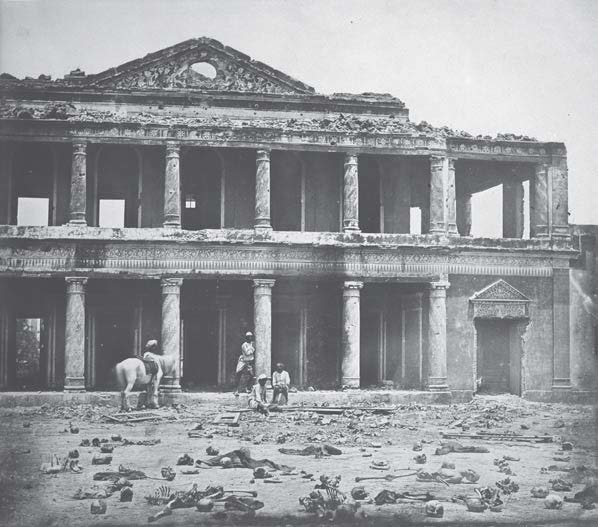 Figure 2 'Interior of Secundra Bagh after the Slaughter of 2000 Rebels by the 93rd Highlanders and 4th Punjab Regiment. First Attack of Sir Colin Campbell in November 1857, Lucknow' by Felice Beato. March or April 1858, albumen silver print, 26.2 × 29.8 i