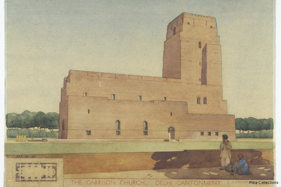 Perspective view of St Martin's Garrison Church, New Delhi, designed by Arthur Gordon Shoosmith (1888–1974) and completed in 1931.