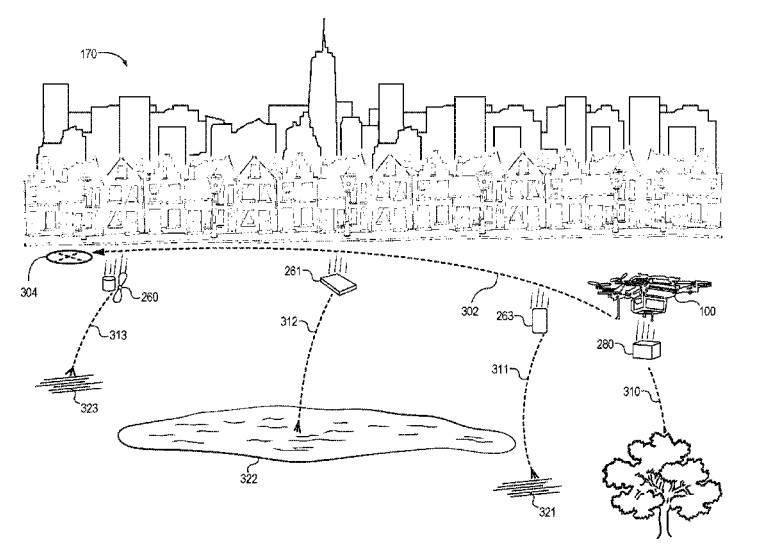 An illustration from the patent shows a drone dismantling itself mid-air.
