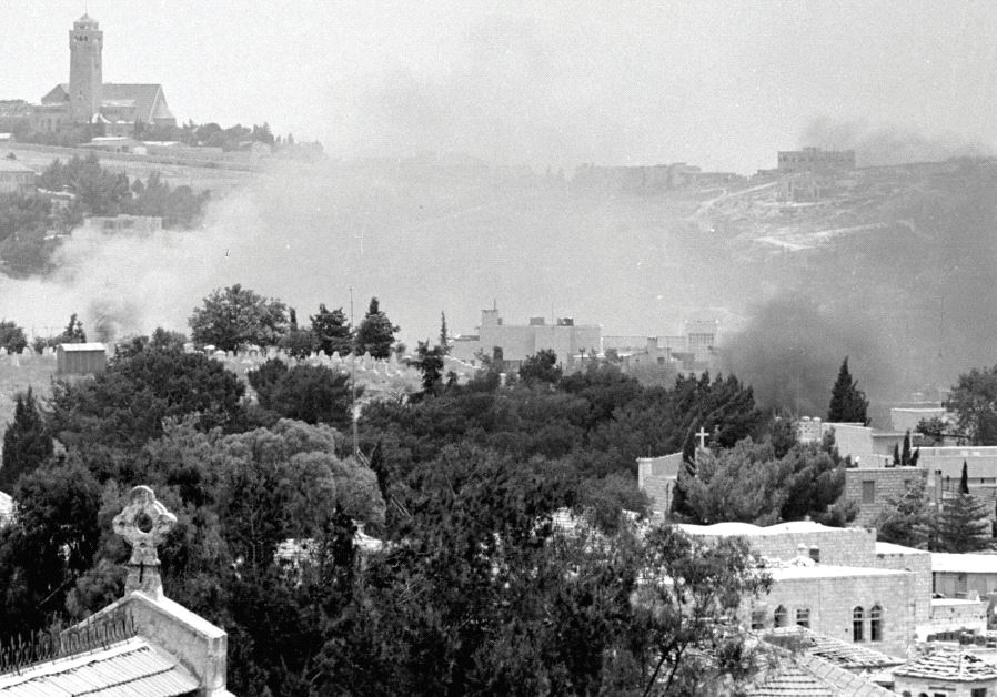 Smoke rises in east Jerusalem during a battle in the Six Day War.