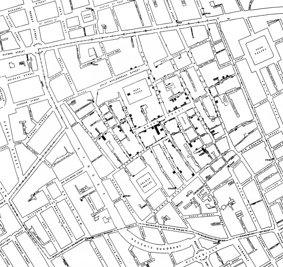 Figure 1: John Snow's map of cholera deaths in London's Soho neighborhood in 1854 | Cartography and printing by Charles F. Cheffins, from Snow, John. 1855. On the Mode of Communication of Cholera, 2nd Ed. London: John Churchill.