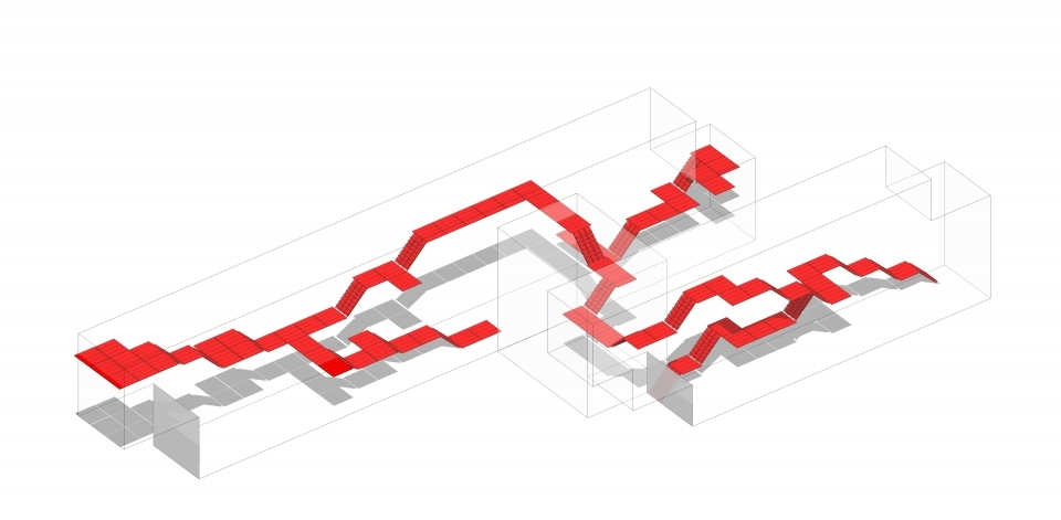 """""""Internal Staircase"""": circulation pattern inside the Scaffolding from the first design proposal (option 1)"""