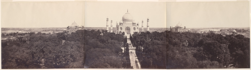 The Taj Mahal from the Gateway, triptych panorama by John Murray, 1864.