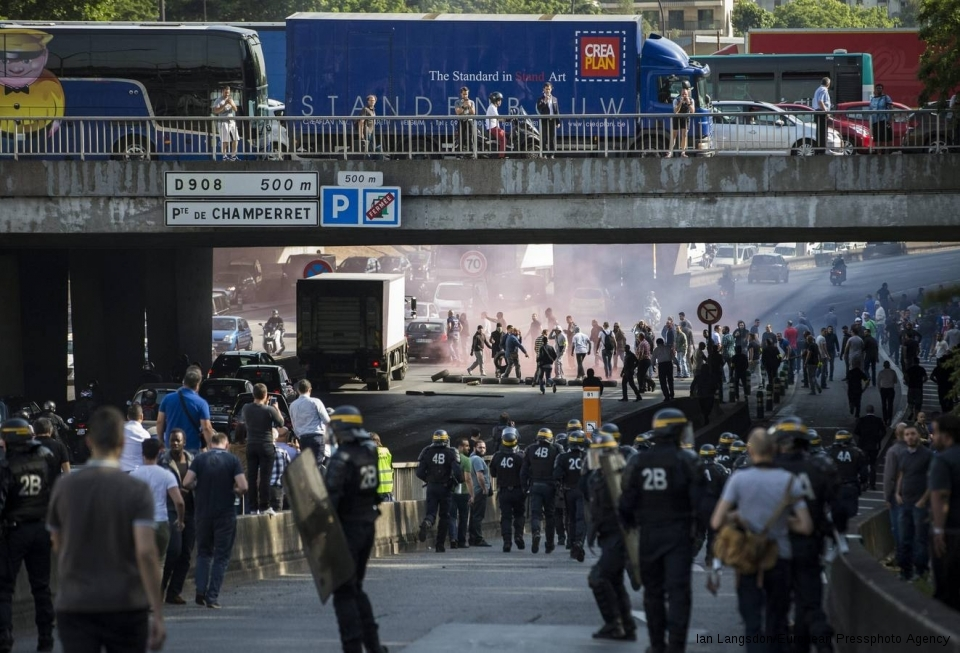 The police faced off Thursday with taxi drivers blocking access to the Paris ring road. Similar protests were held in other cities.