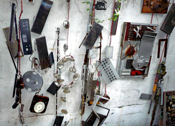 Instruments and objects on studio walls.