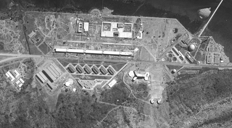 Trombay, the site of India's first atomic reactor (Aspara), the CIRUS reactor provided by Canada, and a plutonium reprocessing facility, as photographed by a KH-7/GAMBIT satellite during February 1966.