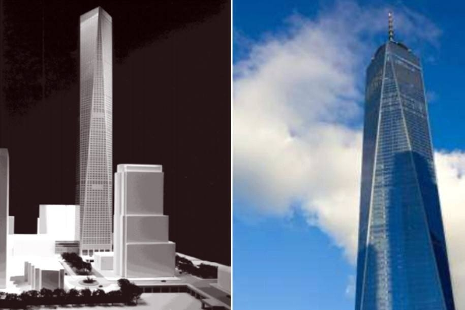 Park's design on the left, One World Trade Center on the right