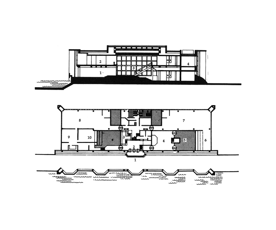 Plan and Section, R. and D. building, Semi-Conductor Complex